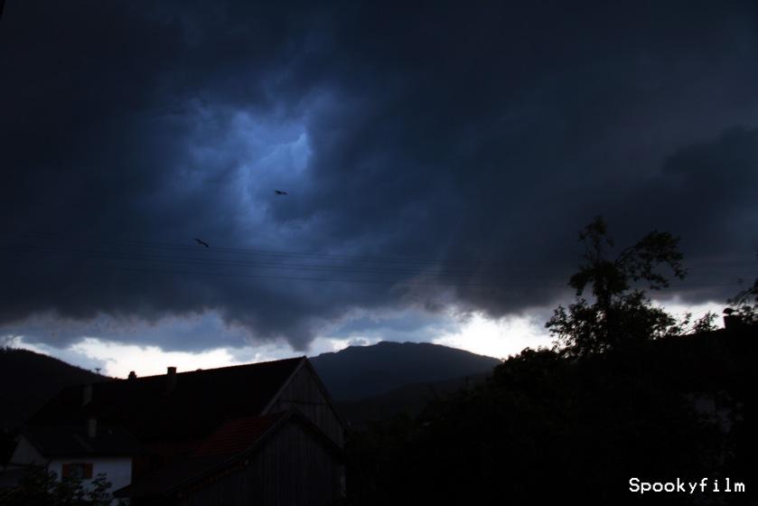 Benediktenwand mit Gewitterstimmung und fliegenden Störchen